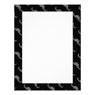 Sparkly silver mosaic Mustache pattern Letterhead