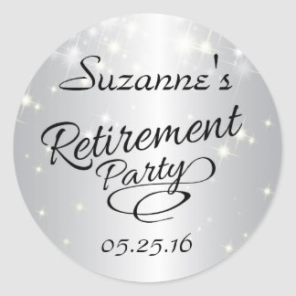 Sparkly Silver Retirement Stickers, Party Favors Classic Round Sticker