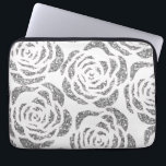 "Sparkly Silver Roses White Laptop Computer Sleeve<br><div class=""desc"">Protect your laptop with this stylish custom Neoprene Laptop Computer Sleeve (13 inch) featuring faux glitter silver / grey roses on a white background. Made with 100% neoprene, this lightweight and water resistant sleeve is great for travel or just day-to-day use. Fully customizable. Comes in three sizes to fit your...</div>"