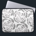 """Sparkly Silver Roses White Laptop Computer Sleeve<br><div class=""""desc"""">Protect your laptop with this stylish custom Neoprene Laptop Computer Sleeve (13 inch) featuring faux glitter silver / grey roses on a white background. Made with 100% neoprene, this lightweight and water resistant sleeve is great for travel or just day-to-day use. Fully customizable. Comes in three sizes to fit your...</div>"""