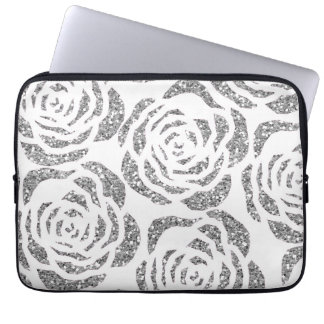 Sparkly Silver Roses White Laptop Computer Sleeve