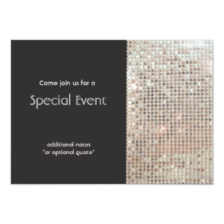 "Sparkly Silver Sequins Festive Fun Party 5"" X 7"" Invitation Card"