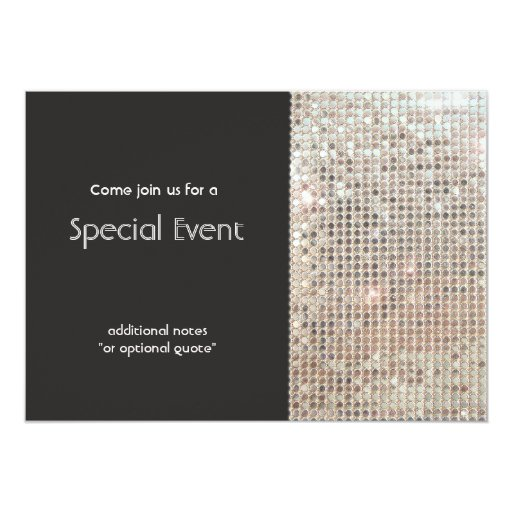 Sparkly Silver Sequins Festive Fun Party 5x7 Paper Invitation Card