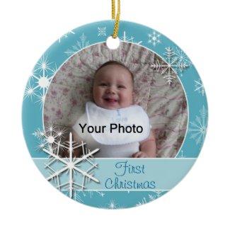 Sparkly Snowflakes Photo Christmas Ornament