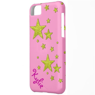 sparkly star glitter pink gold iphone 5 cover case