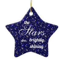 Sparkly Starry blue merry and bright Christmas Ceramic Ornament