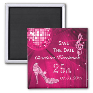 Sparkly Stiletto Heel 25th Birthday Save The Date 2 Inch Square Magnet