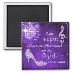 Sparkly Stiletto Heel 30th Birthday Save The Date 2 Inch Square Magnet