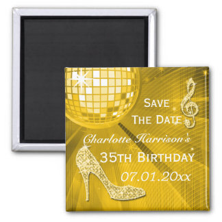 Sparkly Stiletto Heel 35th Birthday Save The Date 2 Inch Square Magnet