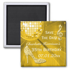 Sparkly Stiletto Heel 35th Birthday Save The Date Magnet at Zazzle