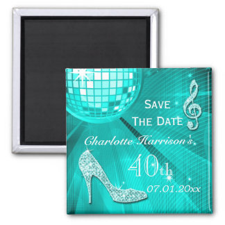 Sparkly Stiletto Heel 40th Birthday Save The Date 2 Inch Square Magnet