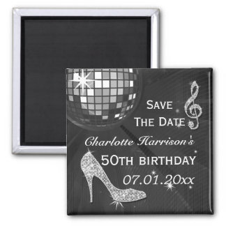 Sparkly Stiletto Heel 50th Birthday Save The Date 2 Inch Square Magnet