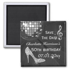 Sparkly Stiletto Heel 50th Birthday Save The Date Magnet at Zazzle