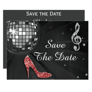 Sparkly Stiletto Heel 55th Birthday Save The Date Card