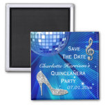 Sparkly Stiletto Heel Quinceañera Save The Date 2 Inch Square Magnet