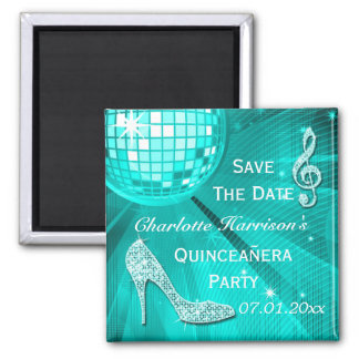 Sparkly Stiletto Heel Quinceañera Save The Date Magnets