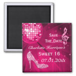 Sparkly Stiletto Heel Sweet 16 Save The Date 2 Inch Square Magnet