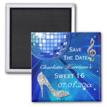 Sparkly Stiletto Heel Sweet 16 Save The Date Fridge Magnets
