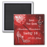 Sparkly Stiletto Heel Sweet 16 Save The Date Fridge Magnet