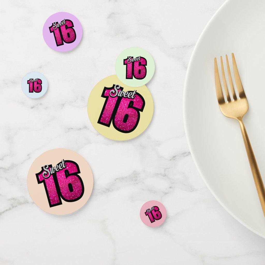 Sparkly Sweet Sixteenth Birthday Confetti