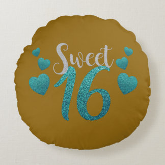 Sparkly Teal and Mustard / Brown Sweet Sixteen Round Pillow