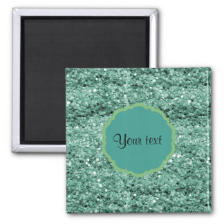 Sparkly Teal Glitter 2 Inch Square Magnet