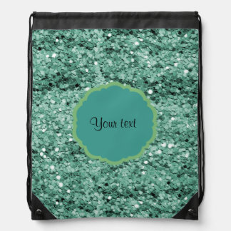 Sparkly Teal Glitter Drawstring Bag