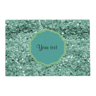 Sparkly Teal Glitter Placemat