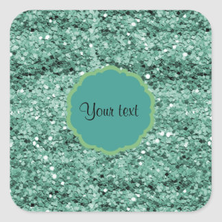 Sparkly Teal Glitter Square Sticker