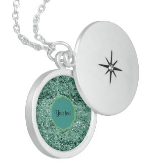 Sparkly Teal Glitter Sterling Silver Necklace