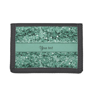 Sparkly Teal Glitter Trifold Wallet
