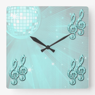Sparkly Teal Music Note Square Wallclock