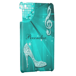 Sparkly Teal Music Note & Stiletto Heel Case For The iPad Mini