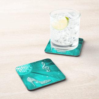 Sparkly Teal Music Note & Stiletto Heel Beverage Coaster