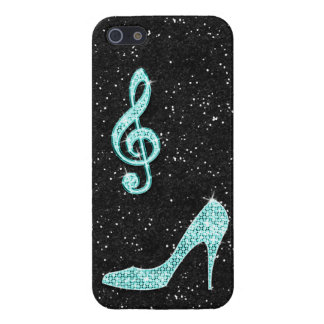 Sparkly Teal Music Note & Stiletto Heel Cover For iPhone SE/5/5s