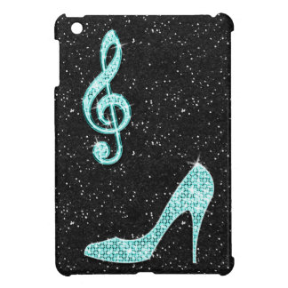 Sparkly Teal Music Note & Stiletto Heel iPad Mini Cover
