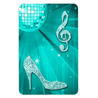 Sparkly Teal Music Note & Stiletto Heel Magnet