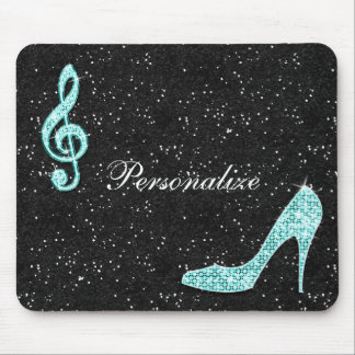 Sparkly Teal Music Note & Stiletto Heel Mouse Pad