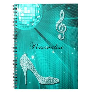 Sparkly Teal Music Note & Stiletto Heel Spiral Notebook