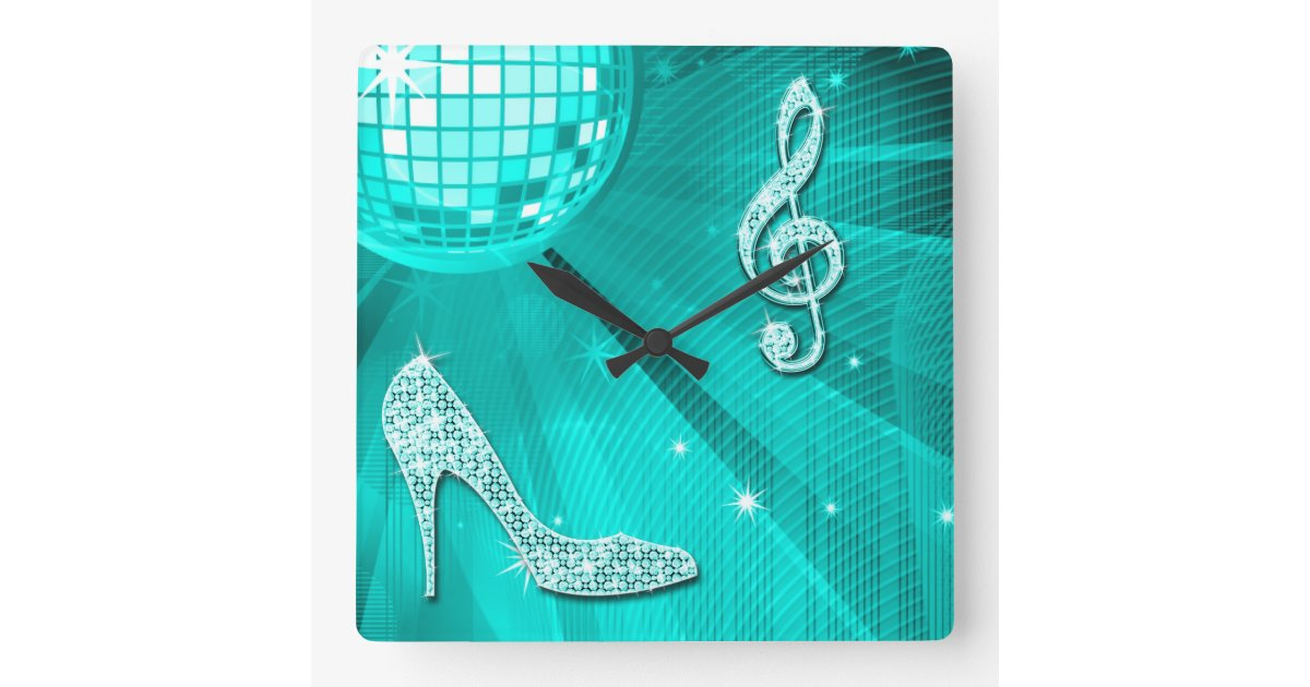 Sparkly Teal Music Note Amp Stiletto Heel Square Wall Clock
