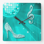 Sparkly Teal Music Note & Stiletto Heel Square Wall Clocks