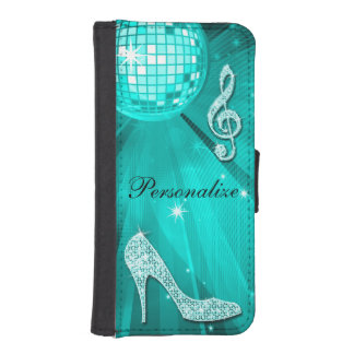 Sparkly Teal Music Note & Stiletto Heel Wallet Phone Case For iPhone SE/5/5s