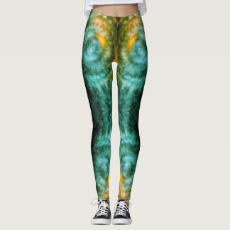 Sparkly teal orange celestial light circles photo leggings