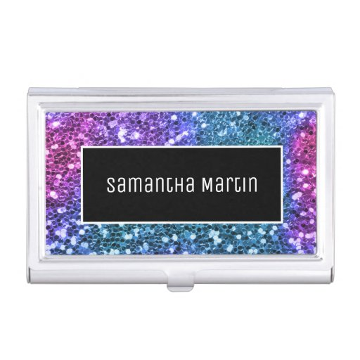 Sparkly Teal Pink Sequin Glitter Personalized Business Card Case