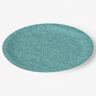 Sparkly Teal & Silver Glitter Paper Plate