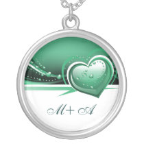 sparkly turquoise  hearts silver plated necklace