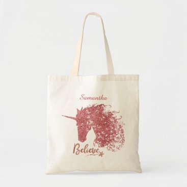 MakeItAboutYou Sparkly Unicorn-Believe (Rose Gold) Tote Bag
