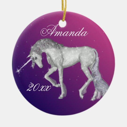 Sparkly Unicorn Fantasy Ceramic Ornament