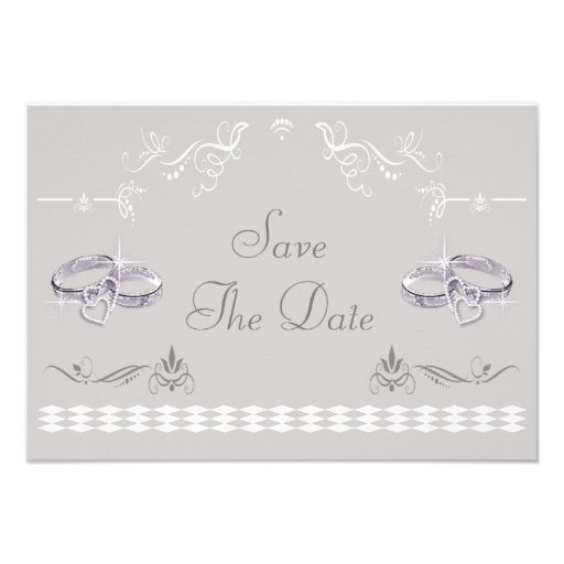 Sparkly Wedding Bands Hearts Save The Date Personalized Invitation