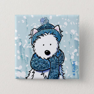 Sparkly Winter Westie Button